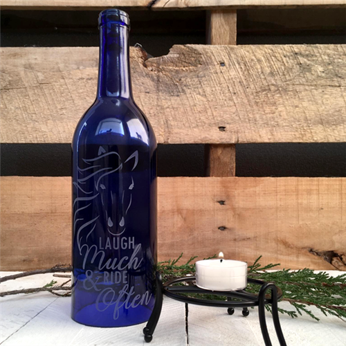 Hand-Etched Wine Bottle Lantern