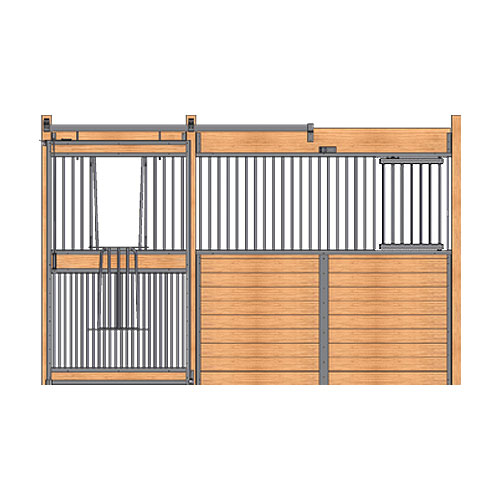 Welded Stall Front with Full Grill V-Door & Feed Door Kit