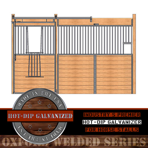 Oxford Welded Stall Front with Feed Opening & V-Door
