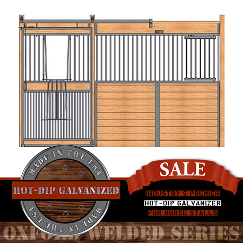 Oxford Welded Stall Front with Full Grill V-Door & Feed Door