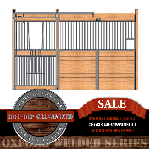 Oxford Welded Stall Front with Feed Opening & Full Grill V-Door
