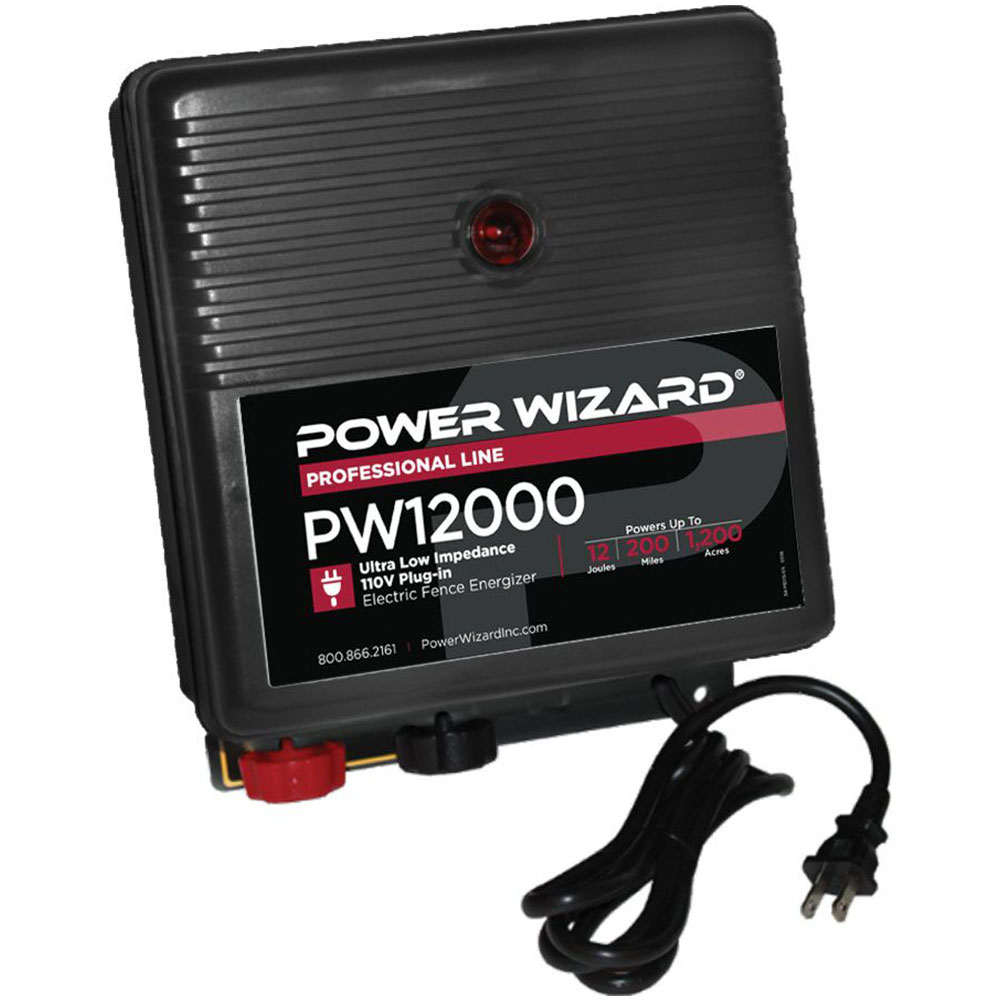 Power Wizard 110V Plug-ln Fence Charger - 12.0 Joules
