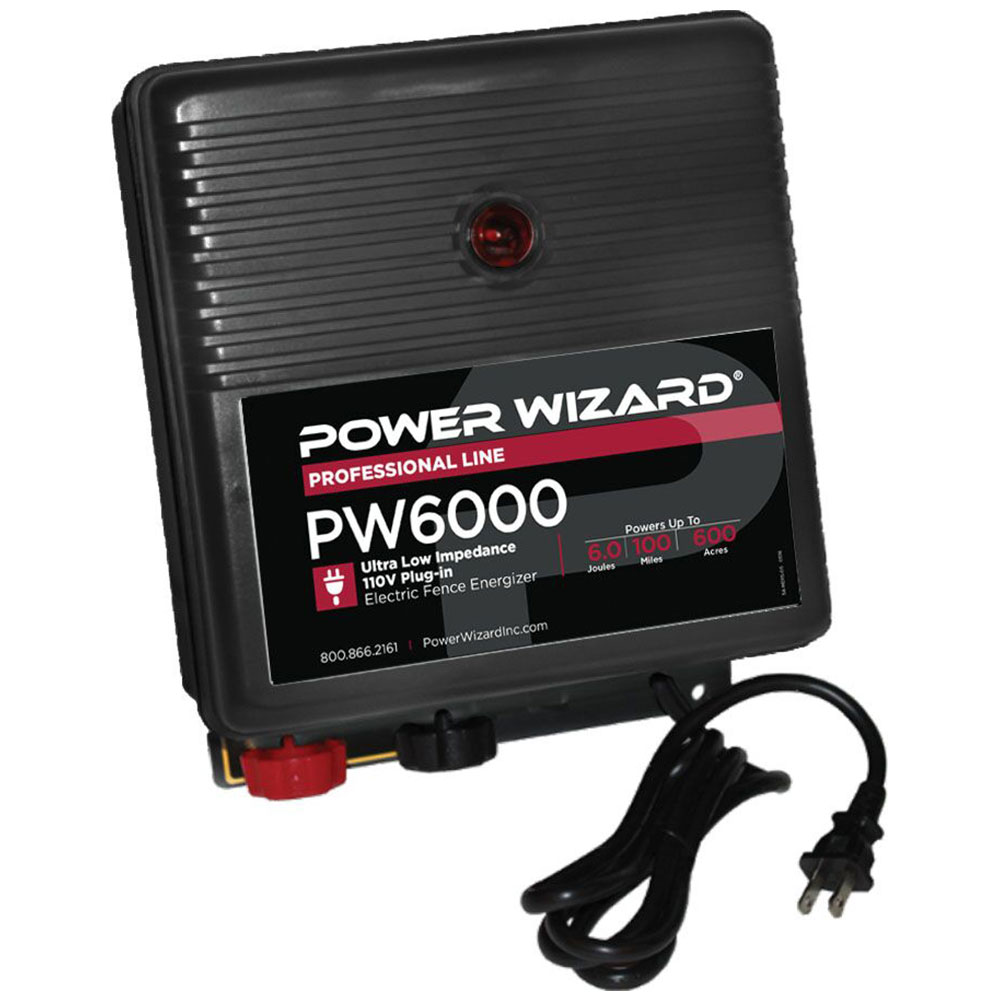 Power Wizard 110V Plug-ln Fence Charger - 6.0 Joules