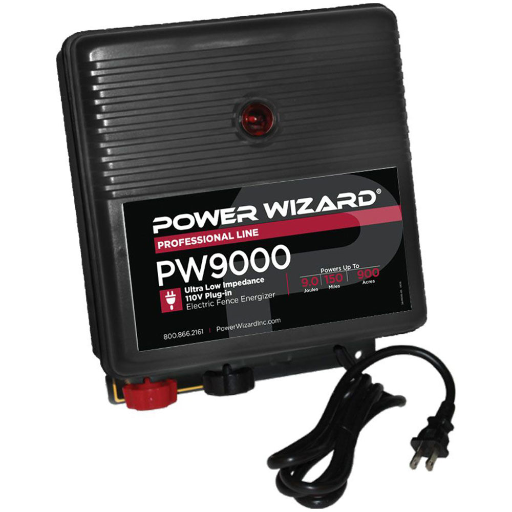 Power Wizard 110V Plug-ln Fence Charger - 9.0 Joules