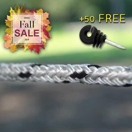 Pro-Tek Braided Electric Horse Fence + 50 FREE Heavy-Duty Ring Insulators