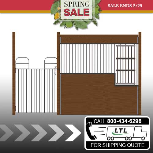 Oxford Welded Stall Front with Full Swing Gate & Large Feed Door Kit