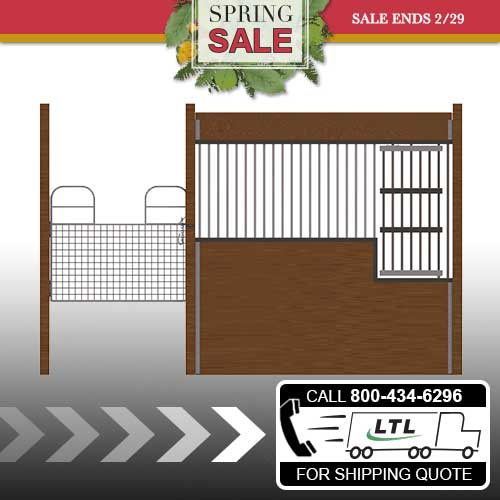 Oxford Welded Stall Front with Half Mesh Swing Gate & Large Feed Door Kit
