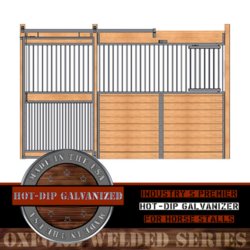 Oxford Welded Stall Front with Feed Door & Full Grill Door