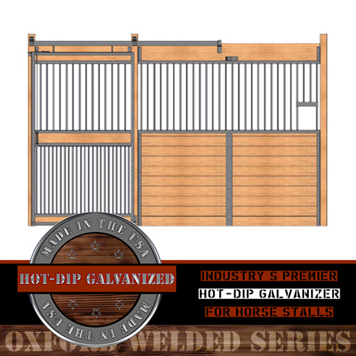Oxford Welded Stall Front with Feed Opening & Full Grill Door