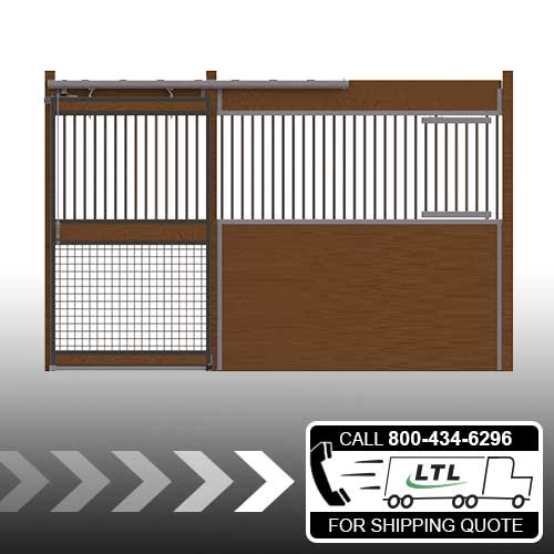 Oxford Welded Stall Front with Grill Top, Mesh Bottom Door & Feed Door Kit