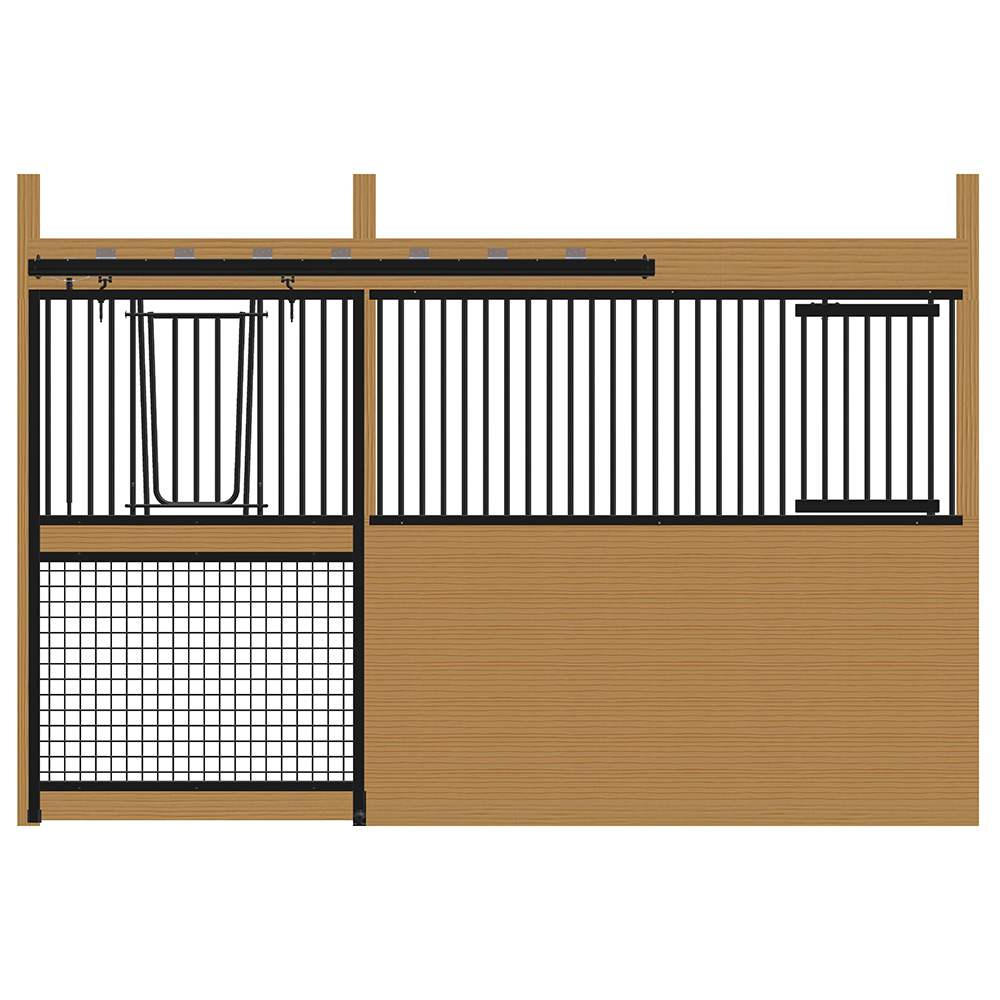 Cambridge Stall Front with Grill Top Mesh Bottom V-Door & Feed Door Kit